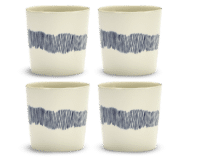 SERAX-OTTOLENGHI - OTTOLENGHI – FEAST Coffee Cups 25 cl – White + Swirl Stripes Blue - 4er Set ø 7.5 x H7.5 CM