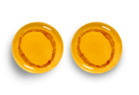 SERAX-OTTOLENGHI - OTTOLENGHI – FEAST Teller S – Sunny Yellow + Swirl Stripes Red - 2er SET ø 19 x H2 CM
