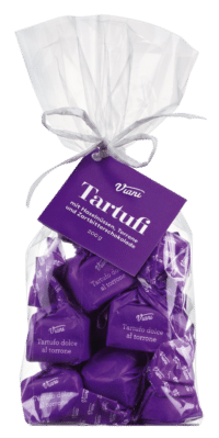 VIANI - Tartufi Dolci neri al torrone - Dunkle Schokoladentrüffel mit Torrone und Piemont Haselnüssen